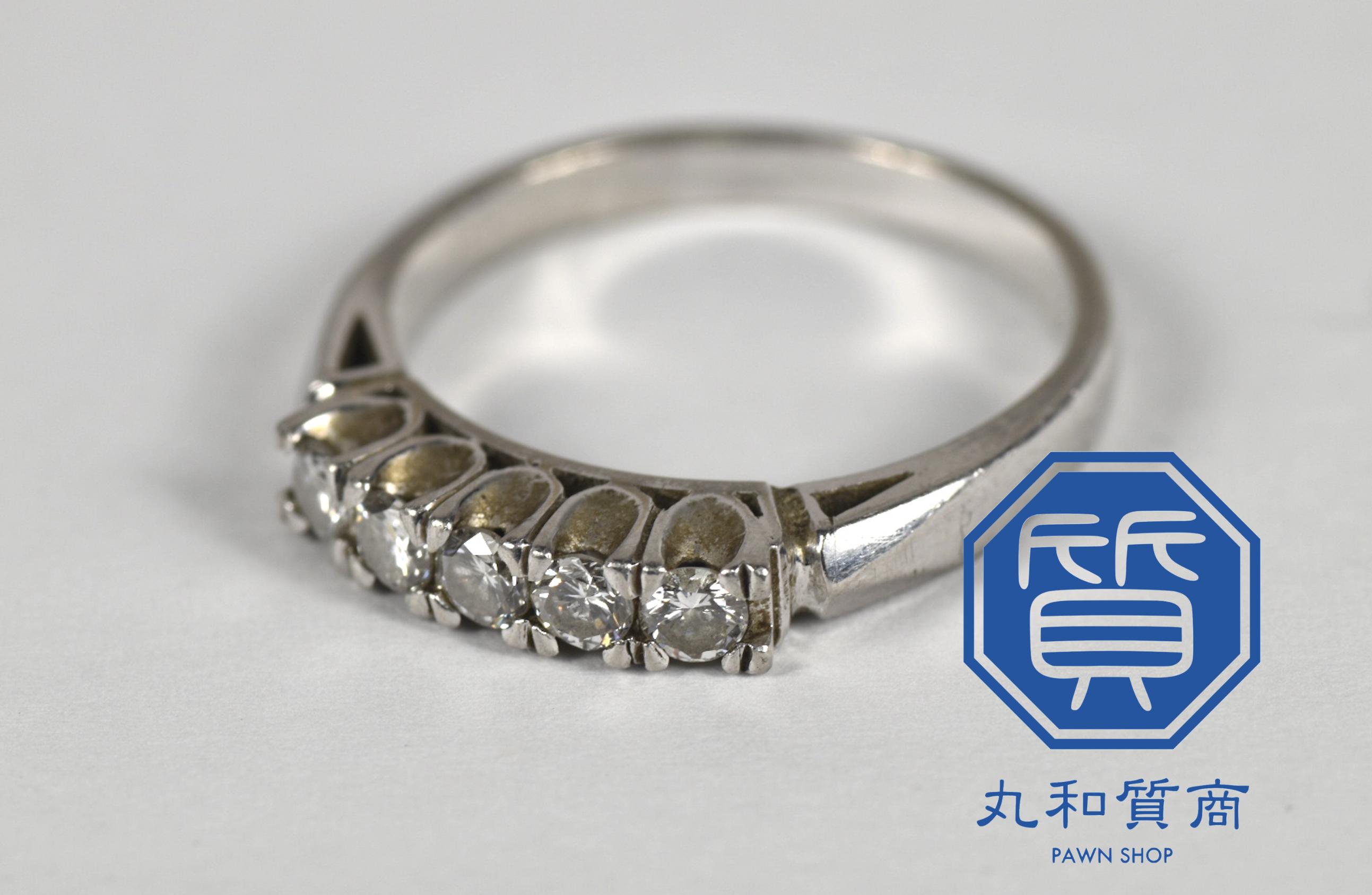 プラチナ(Pt850)イニシャル入りのダイヤモンドリング,指輪をお買取させていただきました。