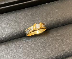 金/プラチナ(K18/Pt850)コンビのダイヤモンドリング,指輪をお買取させていただきました。