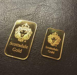 純金(K24,24金)スコッツデール社 ゴールドバー インゴットをお買取させていただきました。