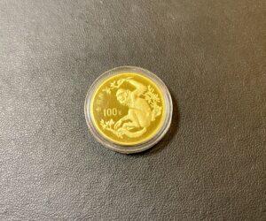 金(K22,22金)中国 100元金貨 サル 1988年をお買取!価格の相場は?